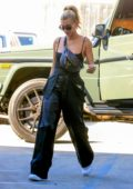 Hailey Bieber rocks Louis Vuitton fanny pack as she arrives at Nine Zero One hair salon in West Hollywood, Los Angeles
