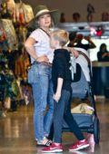 Hilary Duff takes her kids Luca and Banks Violet shopping in Studio City, Los Angeles