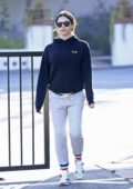 Jenna Dewan wears a navy blue hoodie and grey sweatpants while she runs some early morning errands in Los Angeles