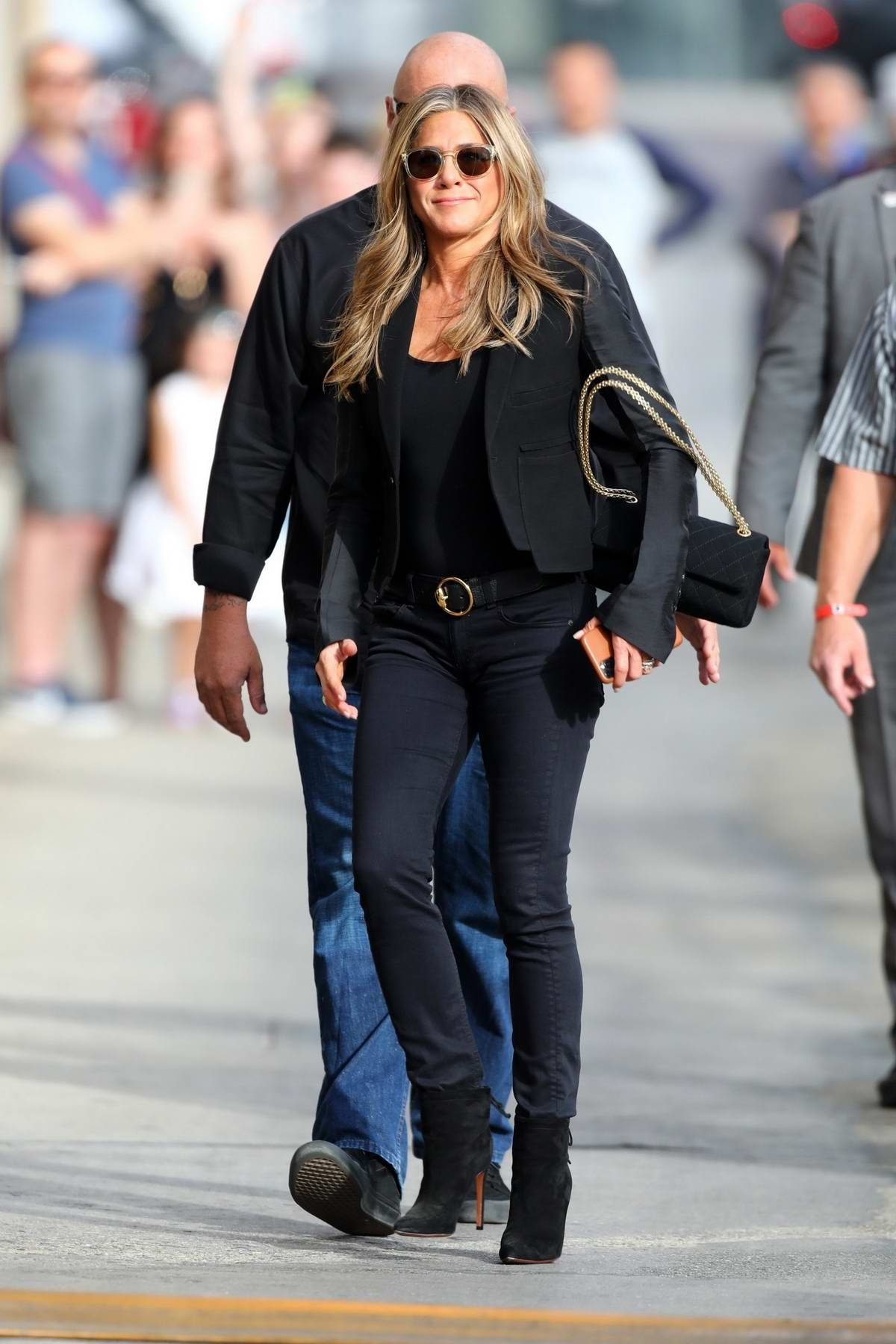 Jennifer Aniston looks chic in all-black as she arrives for an appearance on 'Jimmy Kimmel Live' in Hollywood, California