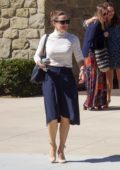Jennifer Garner looks great in a white turtleneck and navy blue skirt as she leaves the church in Pacific Palisades, California