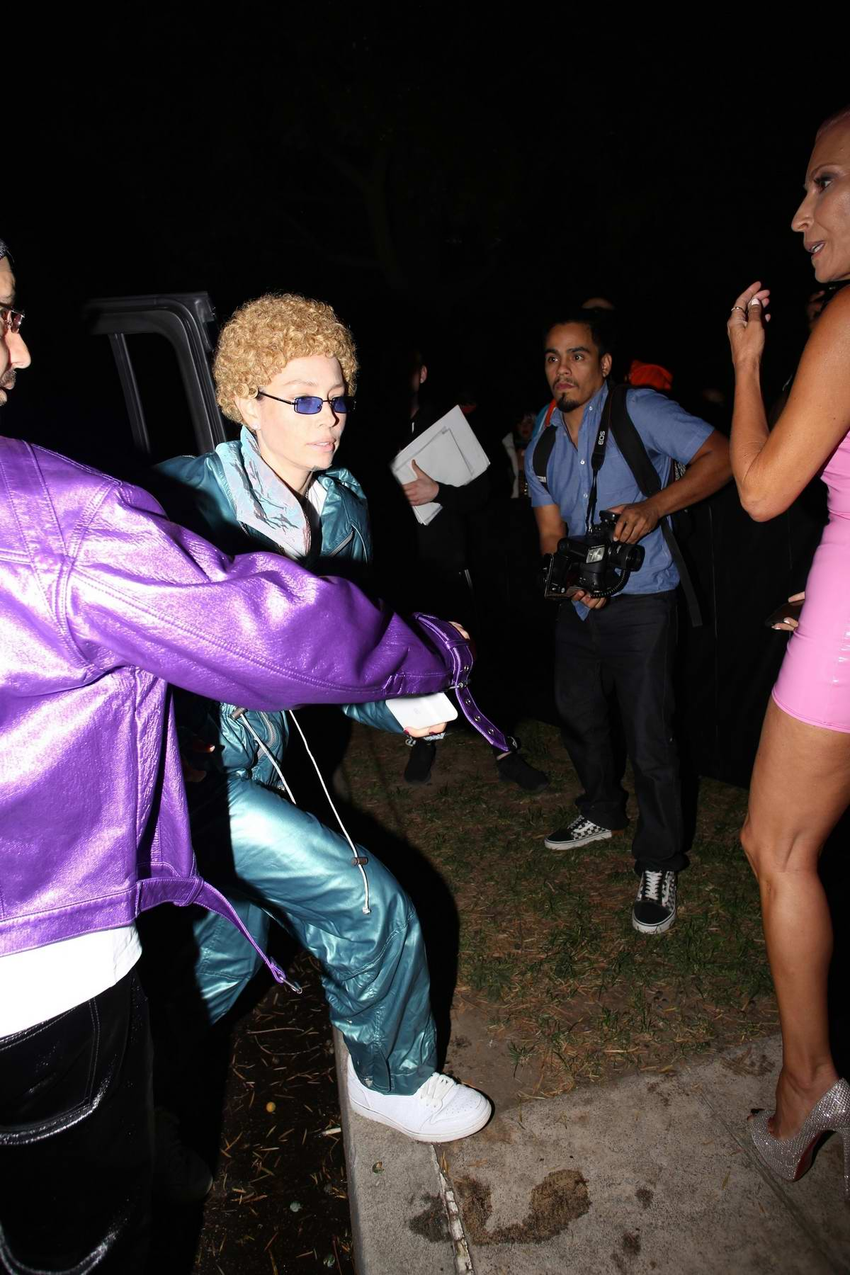 Jessica Biel dressed as Justin Timberlake attends the Casamigos Halloween Party 2019 in Beverly Hills, Los Angeles