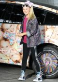 JoJo Siwa seen with her custom wrapped Tesla Model X in Los Angeles