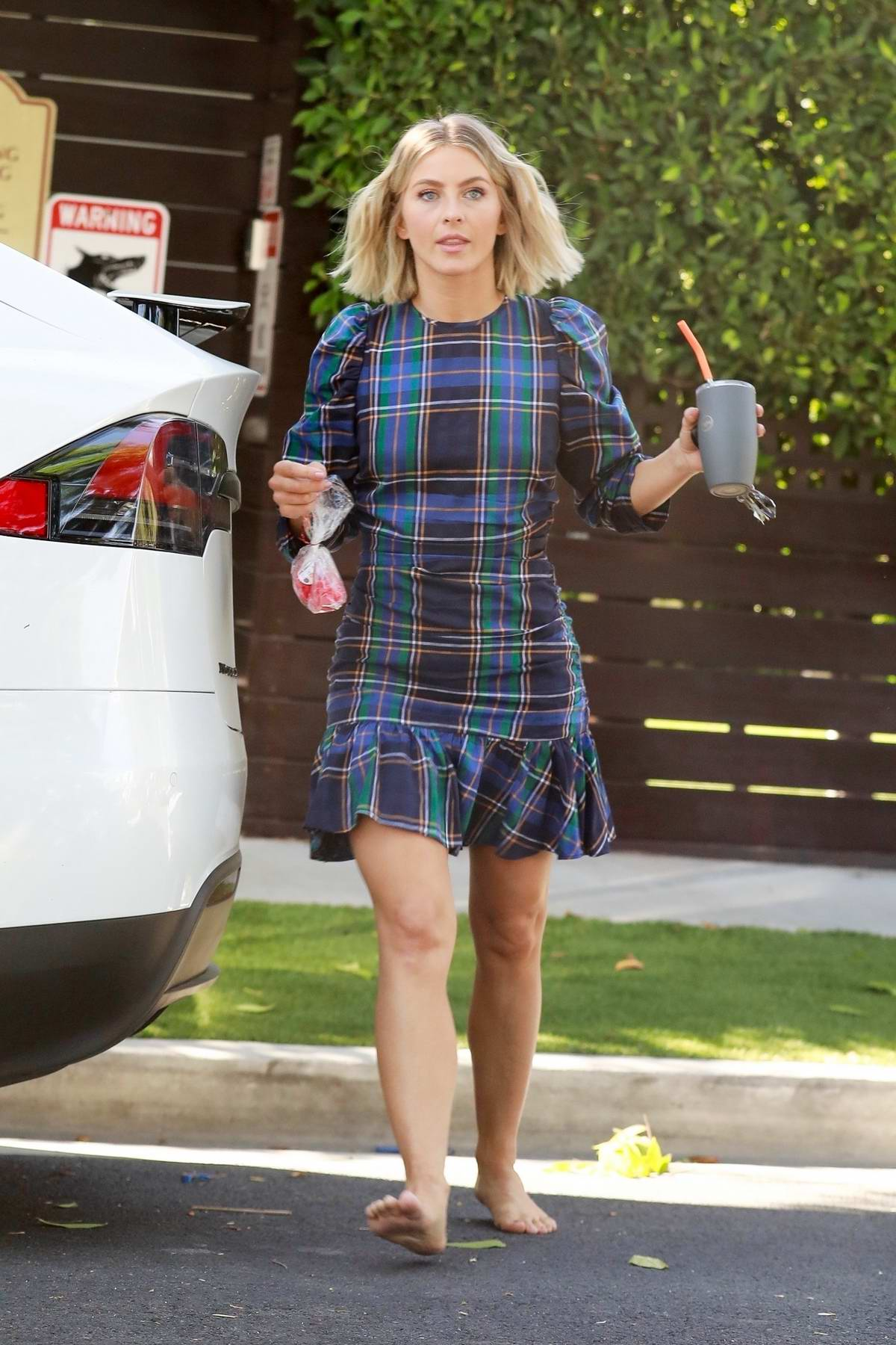 Julianne Hough looks lovely in a plaid dress as she leaves a friend's house in West Hollywood, Los Angeles