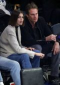 Kaia Gerber and Rande Gerber attend the Chicago Bulls v New York Knicks game at Madison Square Garden in New York City