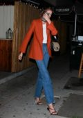 Kaia Gerber seen leaving with a Mystery Man after a dinner date at The Nice Guy in West Hollywood, Los Angeles
