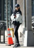 Kaia Gerber spotted in a puffer jacket, leggings and Adidas trainers as she leaves the gym in New York City
