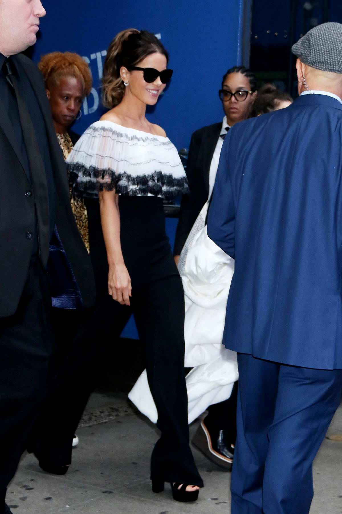 Kate Beckinsale looks great in a black and white ensemble while visiting 'Good Morning America' in New York City
