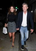 Katharine McPhee looks lovely in a black top and grey skirt as she leaves Craig's with David Foster in Los Angeles