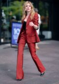 Katherine McNamara looks chic in a Natalie Tre suit while out in the Financial District, New York City