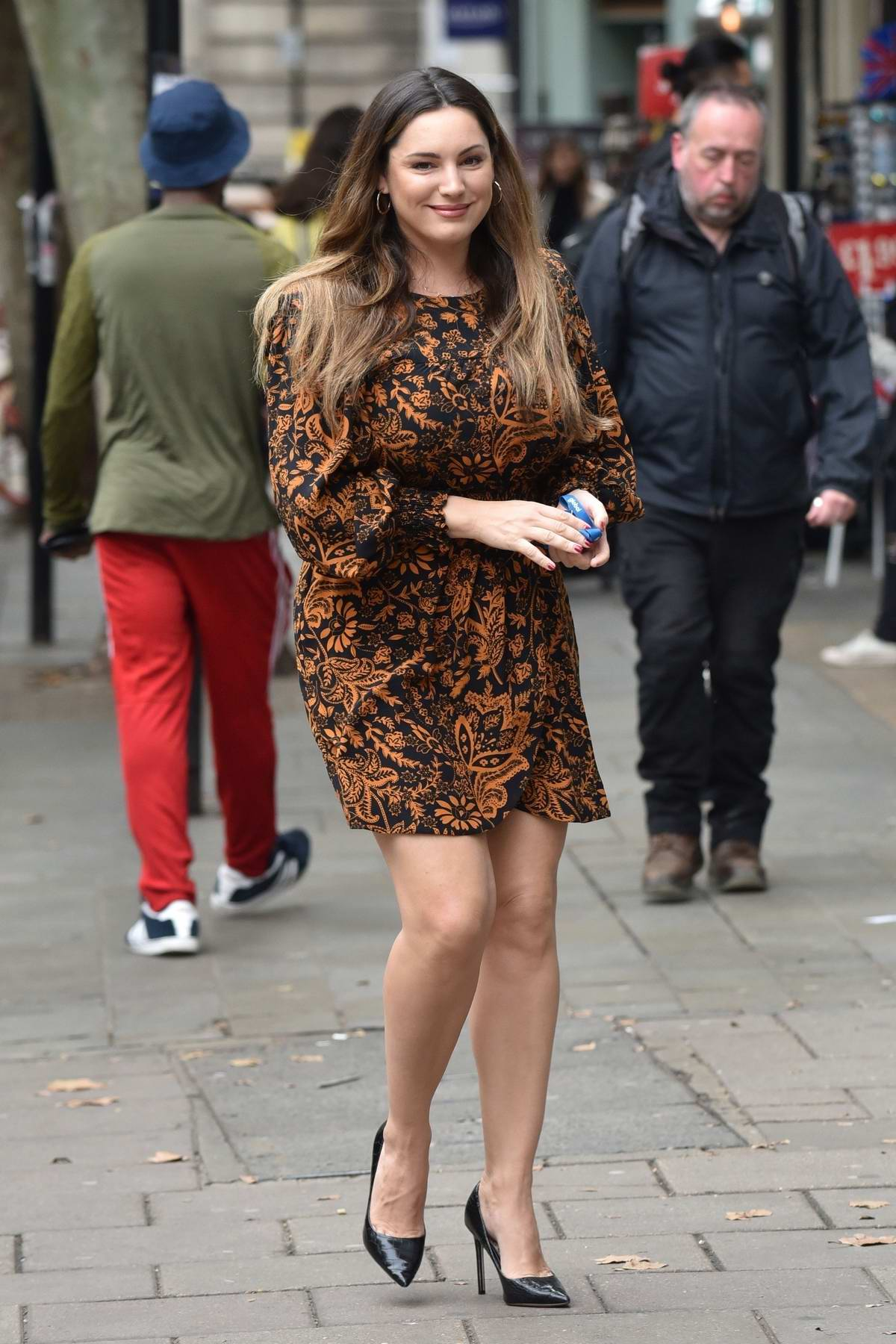 Kelly Brook seen arriving at the Global Studios for her Heart Radio show in London, UK