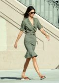 Kendall Jenner seen wearing an olive green dress while filming a Calvin Klein commercial in Los Angeles