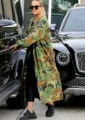 Khloe Kardashian dressed in Camo stops to visit her BFF Malika Haqq in Los Angeles