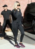 Khloe Kardashian sports all-black top and leggings for a basketball workout in Calabasas, California