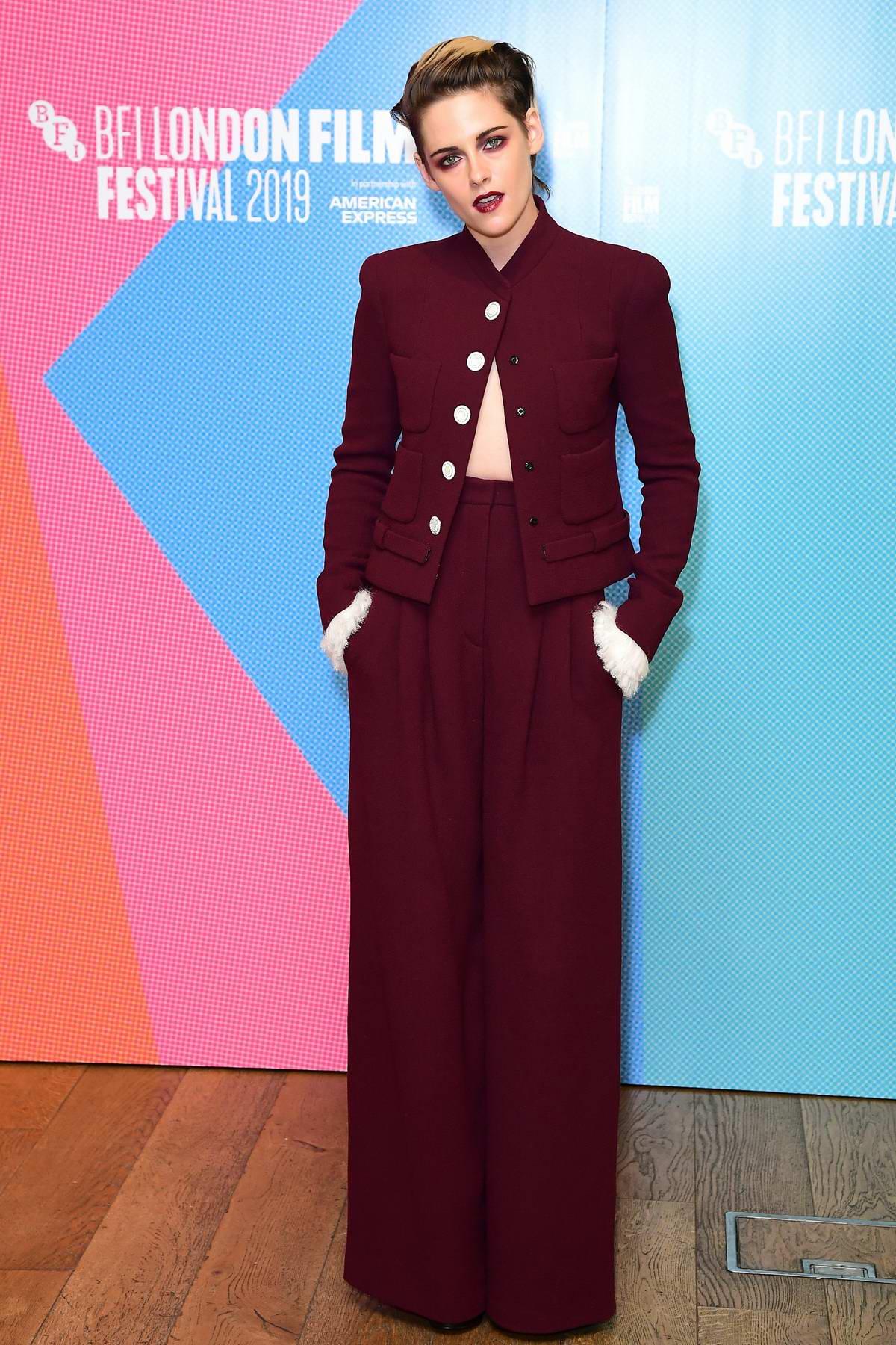 Kristen Stewart attends the UK premiere of 'Seberg' during BFI London Film Festival in London, UK