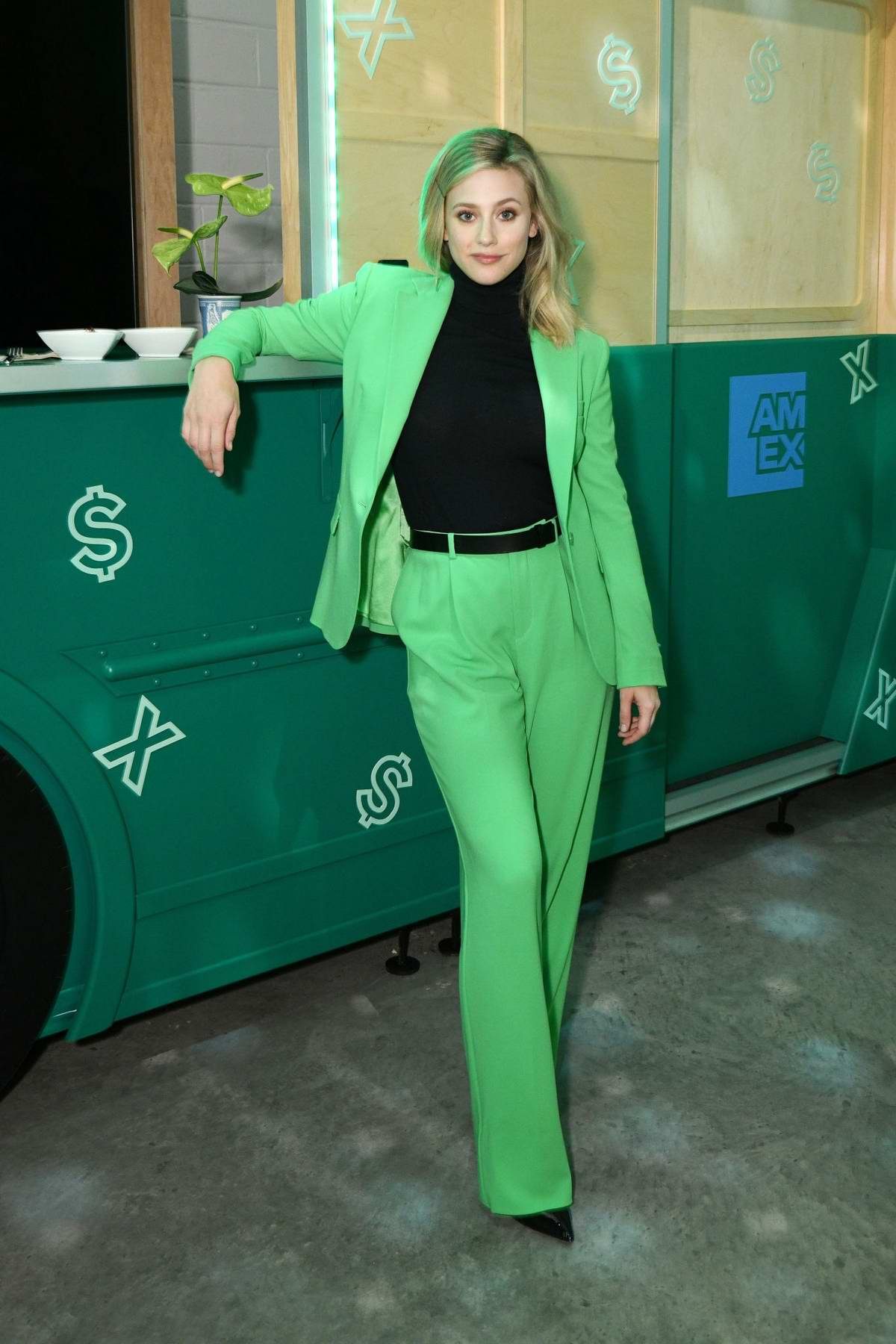 Lili Reinhart attends as American Express celebrates the refresh of Green From Amex in Brooklyn, New York City