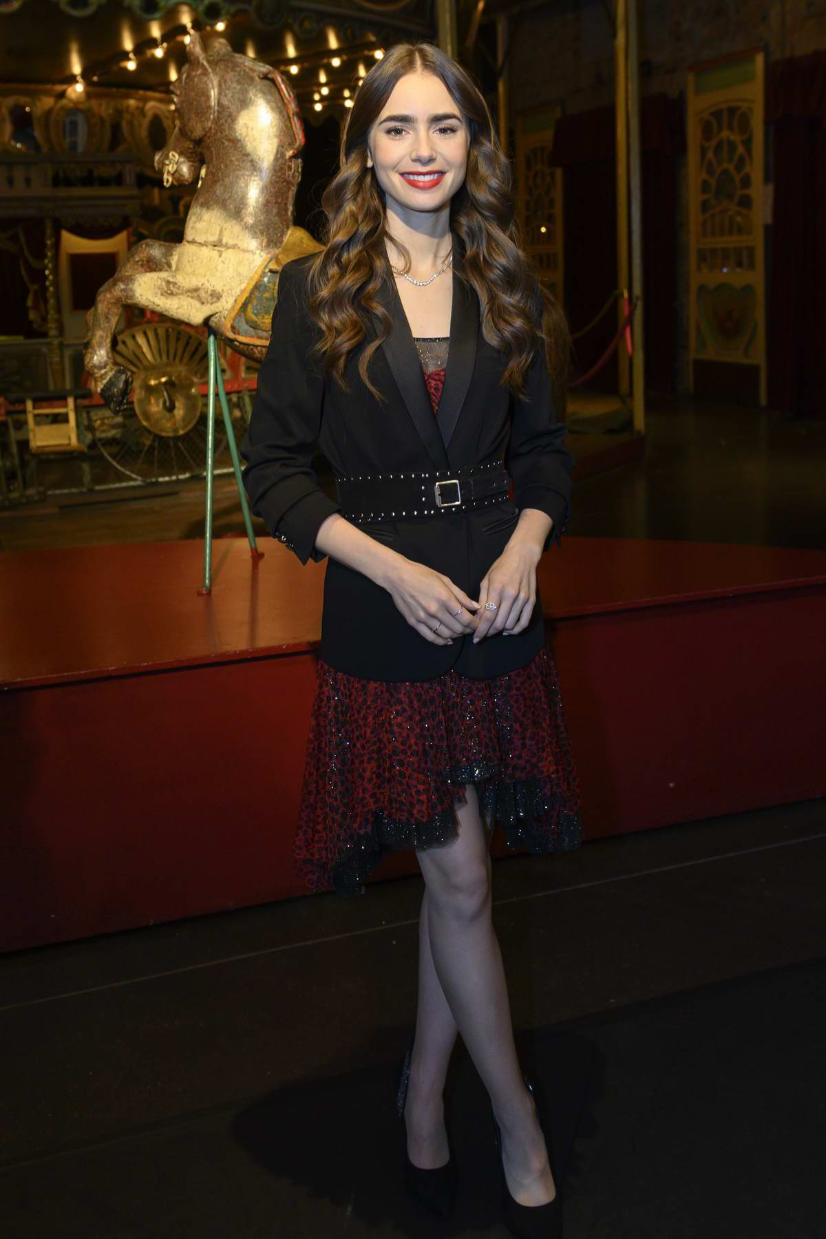Lily Collins at the 'Emily In Paris' Set Visit at Museo Des Arts Foraine in Paris, France
