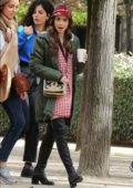 Lily Collins spotted in a tweed coat with matching hat while filming for 'Emily in Paris' TV show in Paris, France