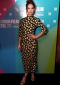 Lily James attends the 'Rare Beasts' Premiere during the 63rd BFI London Film Festival in London, UK