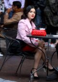 Lucy Hale seen filming a lunch scene on the set of 'Katy Keene' in Manhattan, New York City