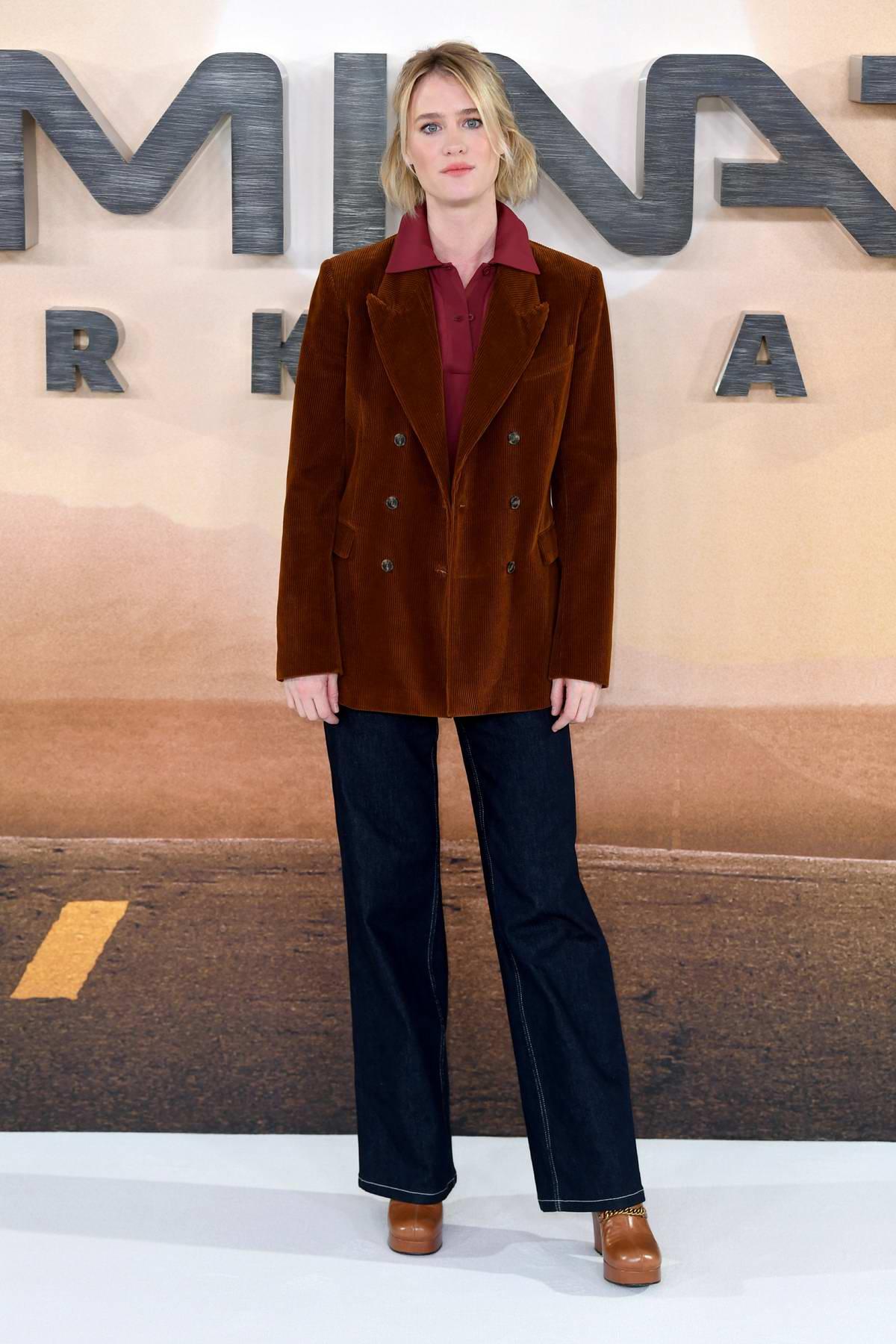 Mackenzie Davis attends 'Terminator: Dark Fate' photocall at the Mandarin Oriental Hotel in London, UK