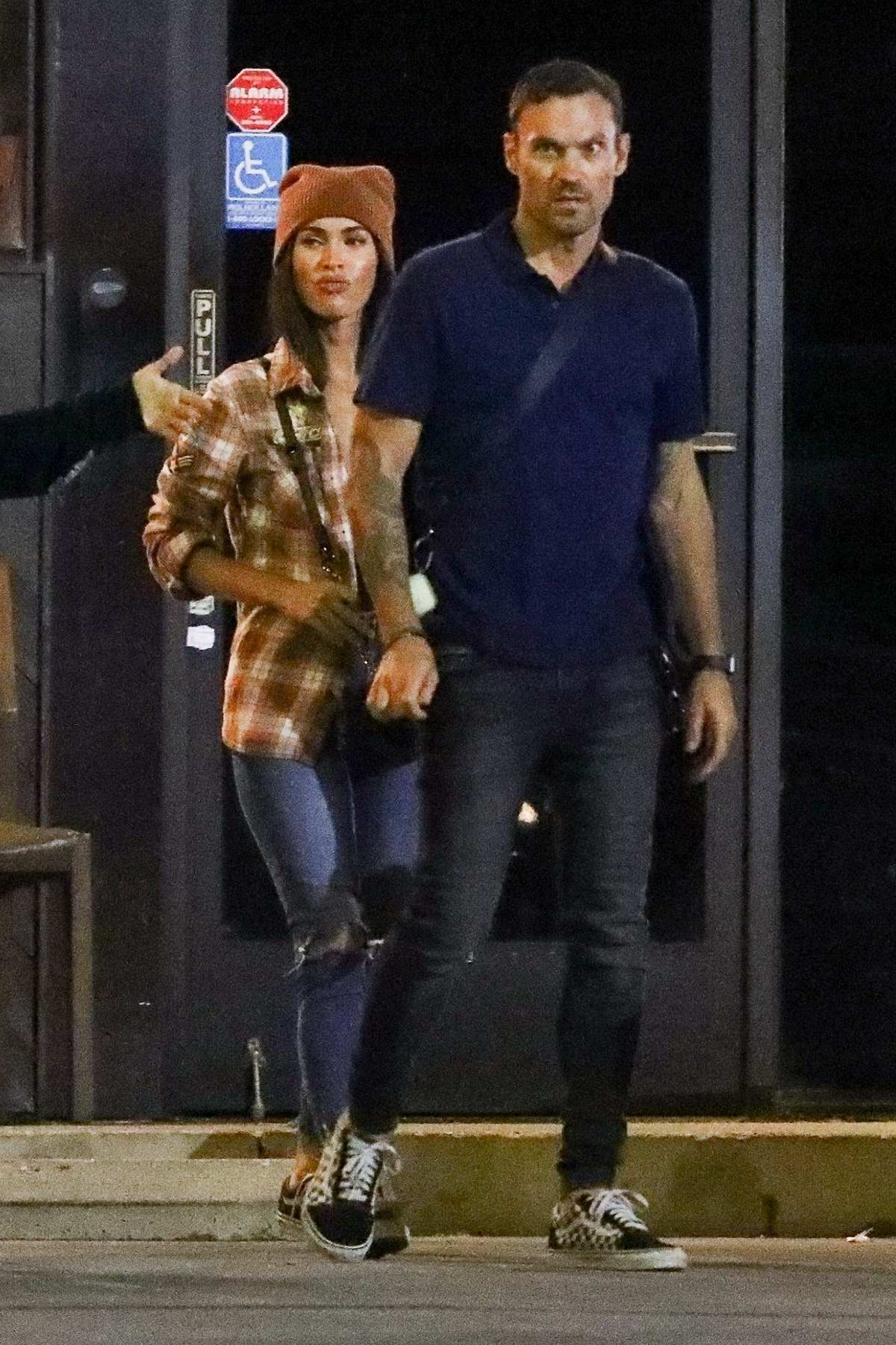 Megan Fox and Brian Austin Green seen leaving Sugarfish after enjoying a family sushi dinner in Los Angeles