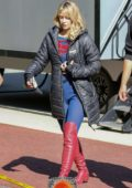 Melissa Benoist spotted for the first time since her marriage to Chris wood, while on the set of 'Supergirl' in Vancouver, Canada