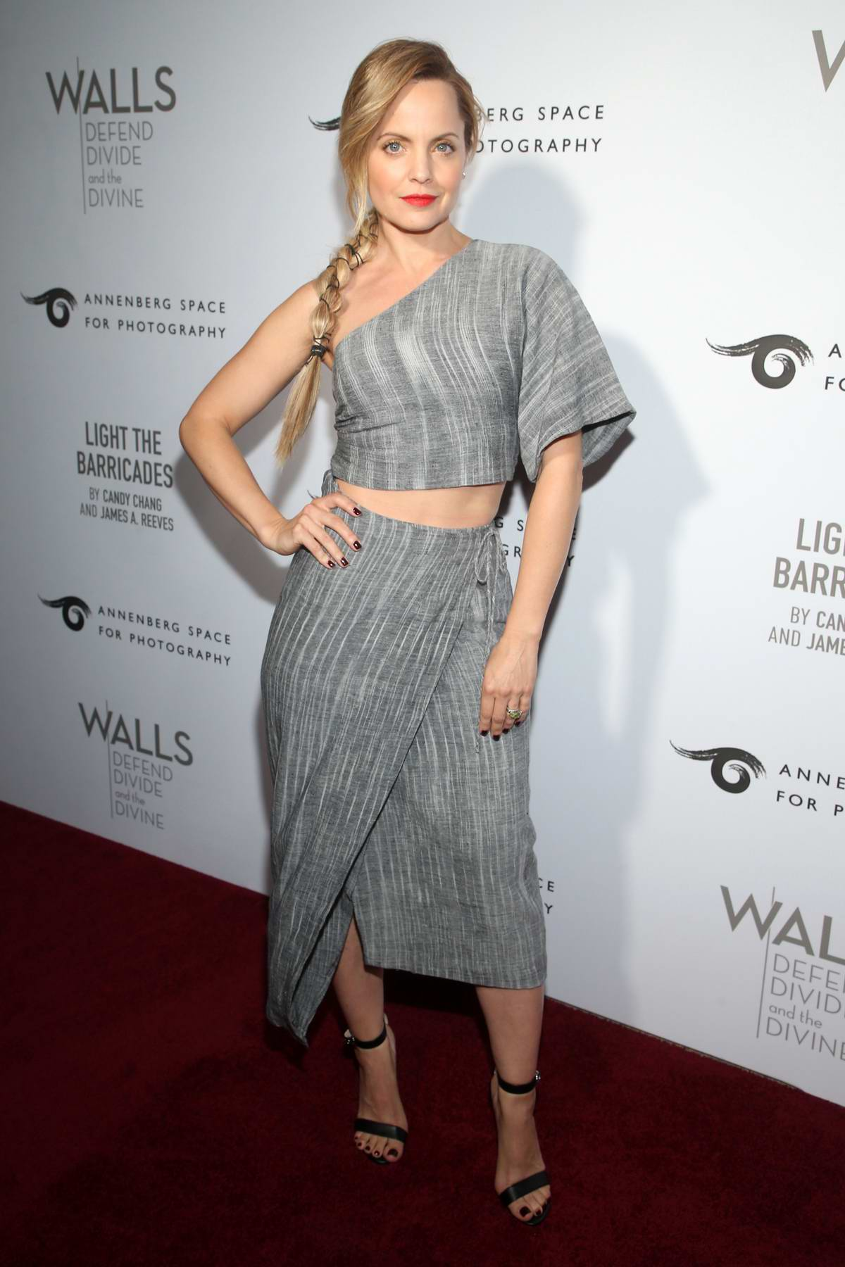 Mena Suvari attends the Annenberg Space For Photography's WALL's: Defend, Divide And The Divine Exhibit Opening in Century City, California