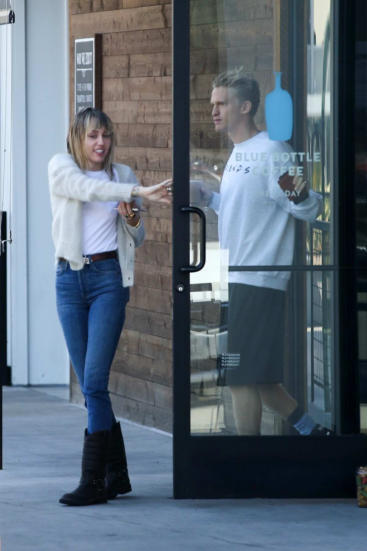 Miley Cyrus and Cody Simpson spotted together during a coffee run at Blue Bottle Coffee in Studio City, Los Angeles