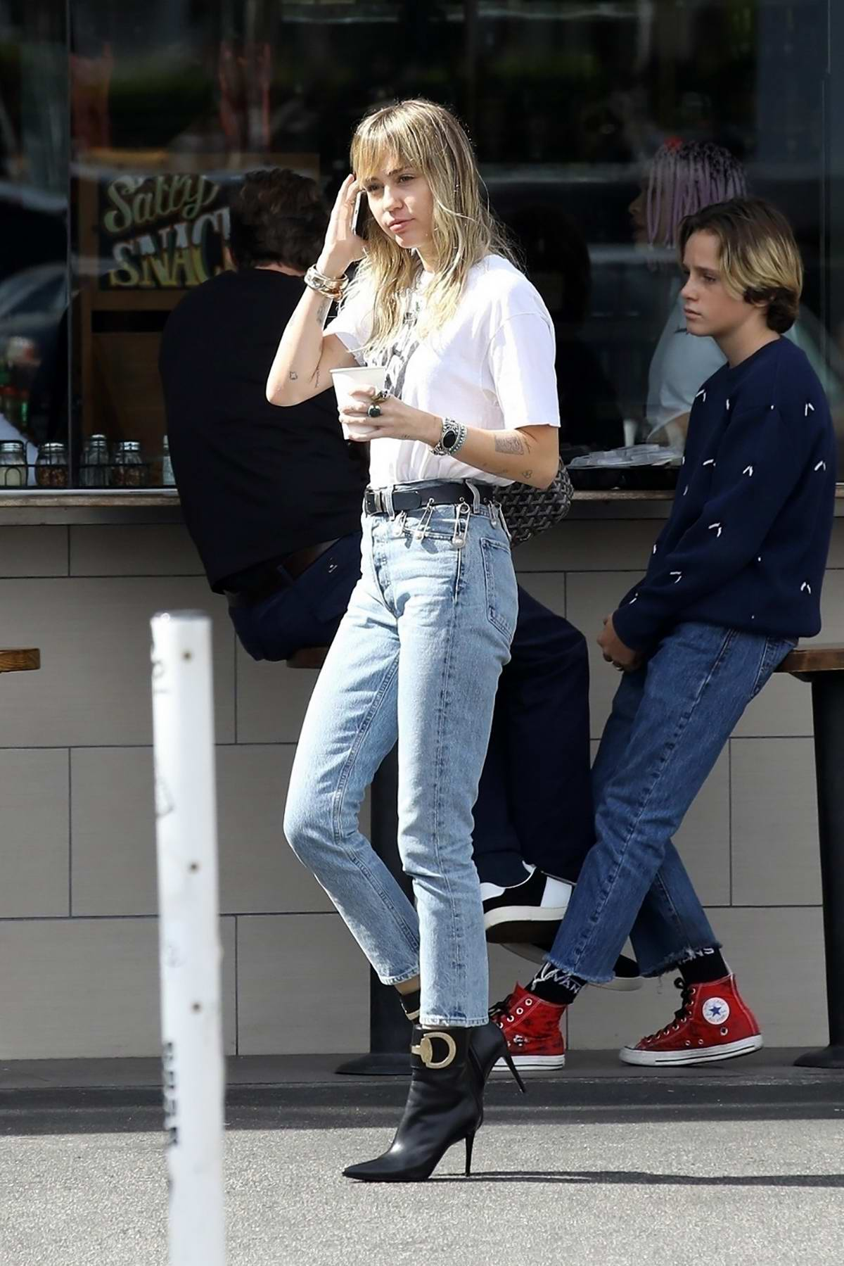 Miley Cyrus and Cody Simpson step out for a morning coffee at The Oaks Gourmet in Los Feliz, California