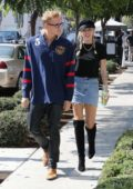 Miley Cyrus and Cody Simpson stop for late afternoon coffee drinks at Alfred's in Studio City, Los Angeles