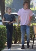 Miley Cyrus step out for breakfast with Cody Simpson and her Mom Tish Cyrus in Toluca Lake, California