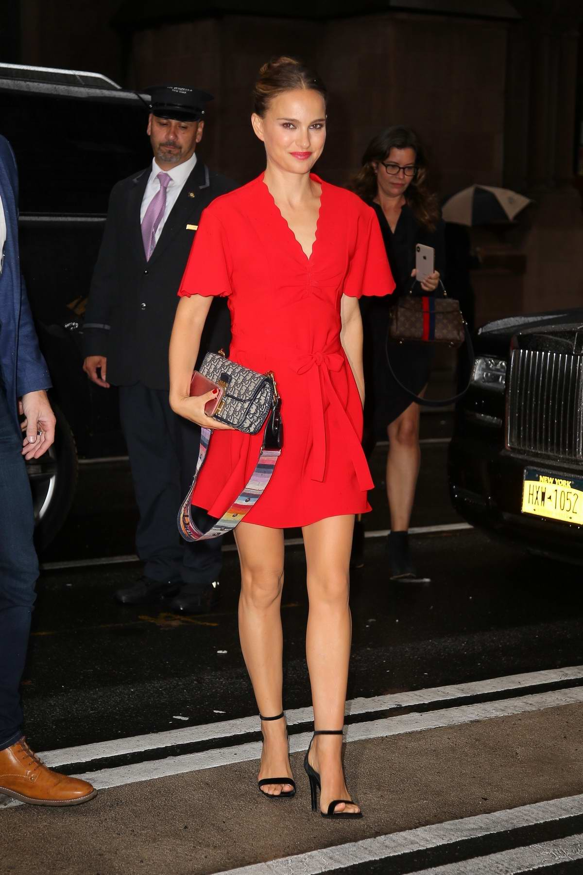 Natalie Portman looks fab in a short red dress while visiting Good Morning America in New York City