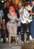 Nicki Minaj arrives at Fendi x Nicki Minaj launch party with boyfriend Kenneth Petty in Beverly Hills, Los Angeles