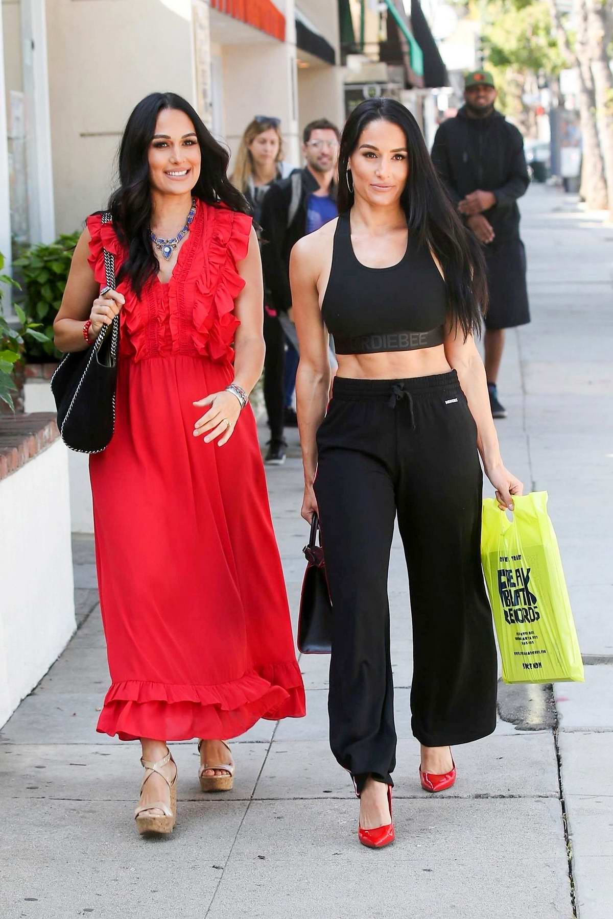 Nikki and Brie Bella stepped out for a day of shopping on Ventura Blvd in Studio City, Los Angeles