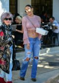 Nikki Bella shows off her amazing abs in a pink crop top while out for lunch with Artem Chigvintsev in Los Angeles