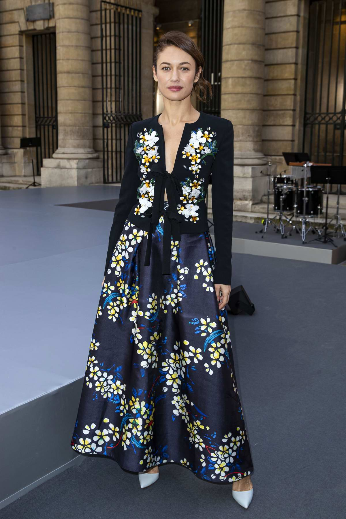Olga Kurylenko attends the L'Oreal Paris Spring/Summer 2020 show during Paris Fashion Week in Paris, France