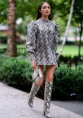 Olivia Culpo looks stylish in an Andamane dress with Paris Texas boots as she steps out in Tribeca, New York City