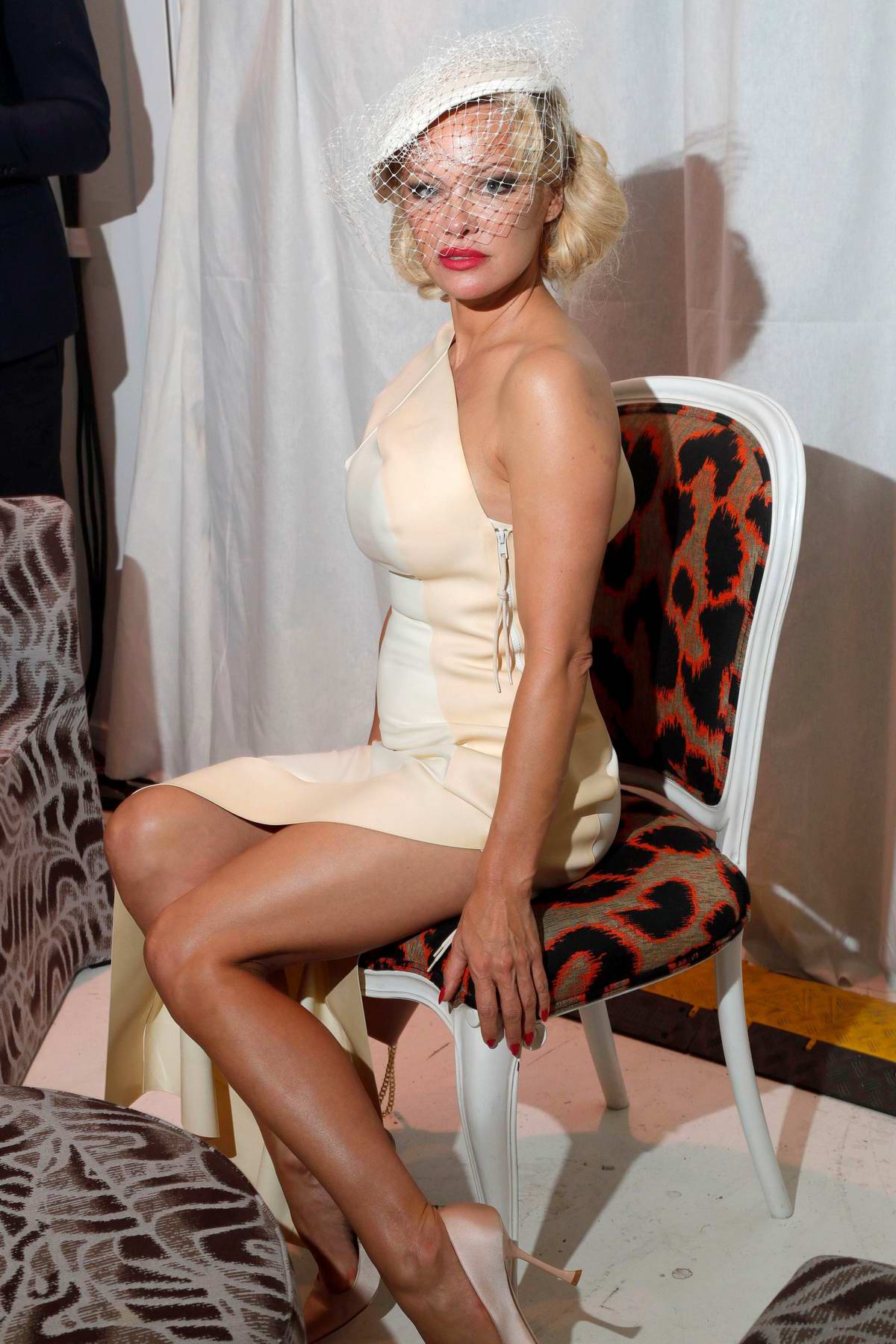 Pamela Anderson attends Andreas Kronthaler for Vivienne Westwood Womenswear SS 2020 Show during Paris Fashion Week in Paris, France