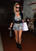 Paris Hilton wears cute animal print romper while shopping at the 'Trashy Lingerie' store for Halloween costumes in Los Angeles