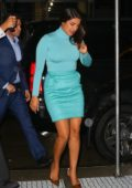 Priyanka Chopra stands out in aqua blue ensemble as she arrives back at her hotel in New York City