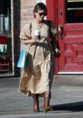 Rachel Bilson spotted in a beige dress as she stops by Starbucks in Los Feliz, California