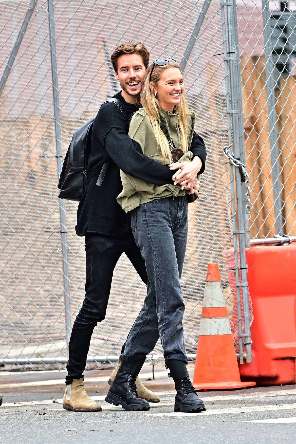 Romee Strijd enjoys a stroll with boyfriend Laurens van Leeuwen in New York City