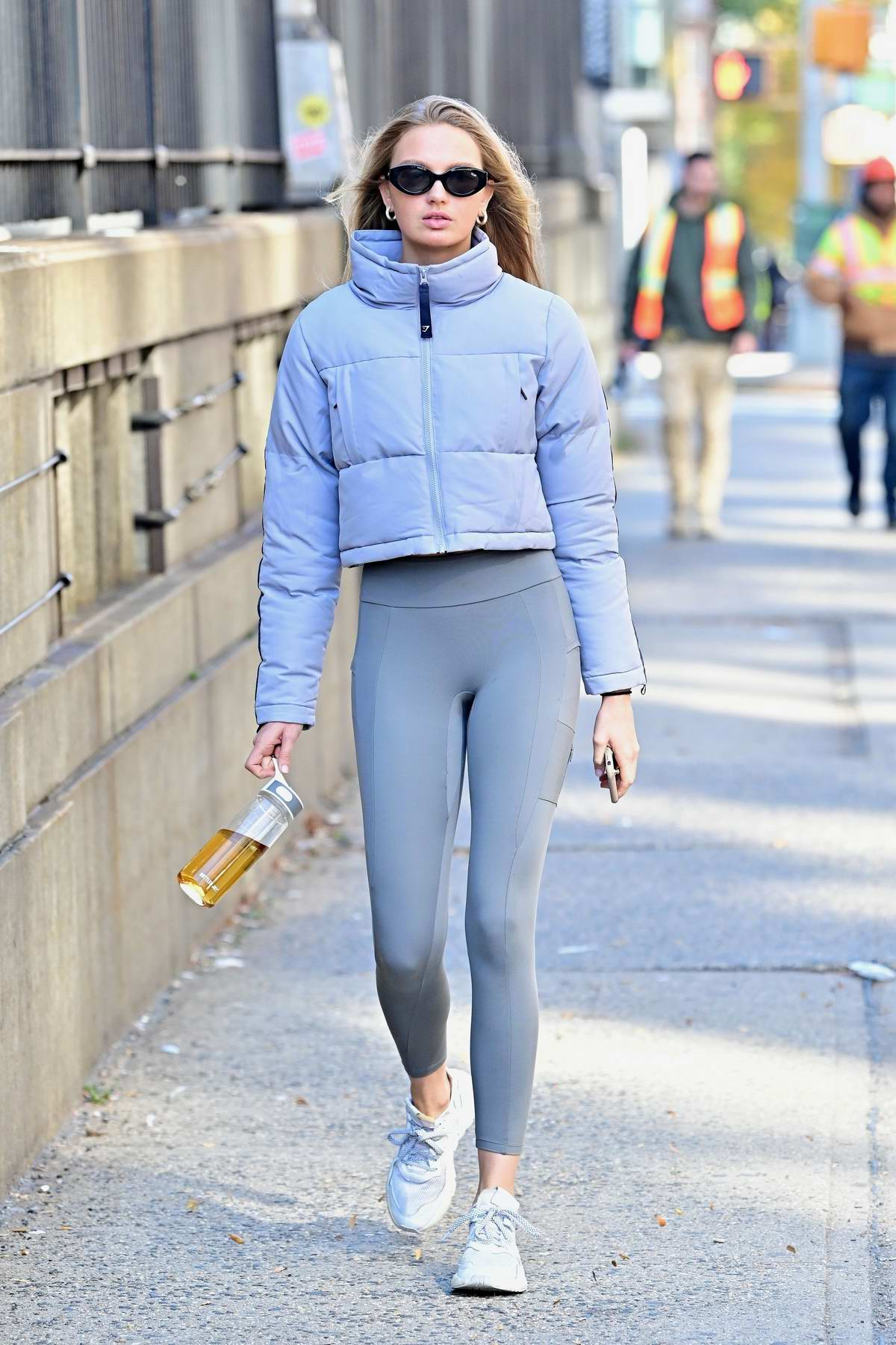 Romee Strijd shows off her toned legs in a pair of grey leggings as she hits the gym in New York City