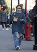 Sabrina Carpenter dressed in baggy clothes on her day off from filming 'Clouds' around Montreal, Canada