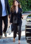 Selena Gomez looks chic in a black suit while heading to a business meeting at Burbank Studios in Burbank, California