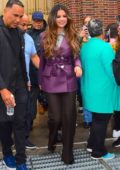 Selena Gomez looks stylish in a purple blazer as she leaves Z100 after promoting her latest single in New York City
