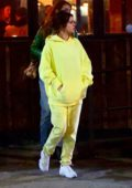 Selena Gomez spotted in a yellow sweatsuit during a night out with friends in Bushwick, Brooklyn, New York