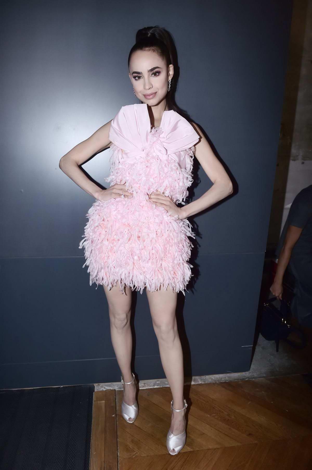Sofia Carson attends the Giambattista Valli Womenswear Spring/Summer 2020 show during Paris Fashion Week in Pairs, France