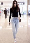 Sui He rocks a black Fiorucci top as she arrives at Shanghai Hongqiao Airport in Shanghai, China
